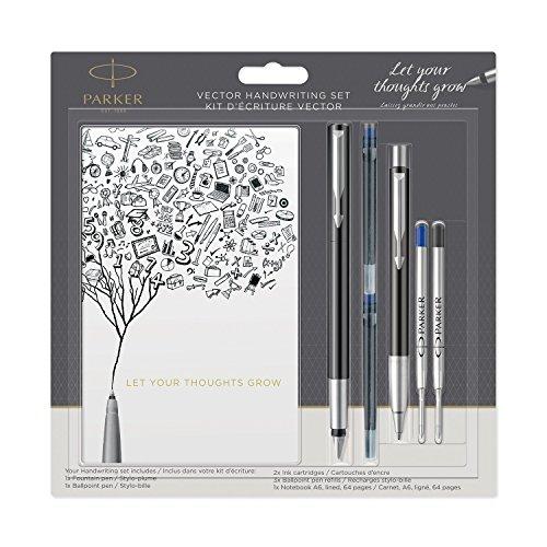 Parker Vector Schreibset mit einem Füllfederhalter, einem Kugelschreiber und einem A6-Notizblock, Schwarz mit Chromzierteilen, Blaue Nachfüllminen Farblich Sortiert