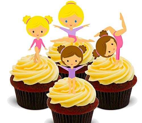 Made4You Poco Gymnasts, gimnasia-Decoración para tarta para comestible stand-up Cupcake de oblea toppers, 12 unidades