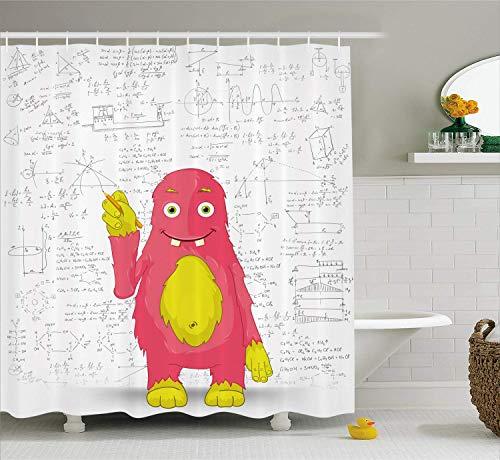 AdaCrazy lustige intelligente Monster tun Mathematik an der Wand Wissenschaft Nerds Comic-Illustration Schule Duschvorhang Stoff Stoff Badezimmer Dekor Set mit Haken gelb weiß - Duschvorhänge Wissenschaft