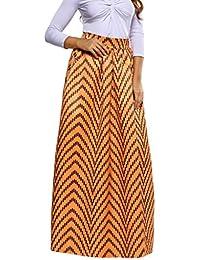 Y-BOA Jupe Femme Maxi Africaine Imprimé Taille Élastique Plissé