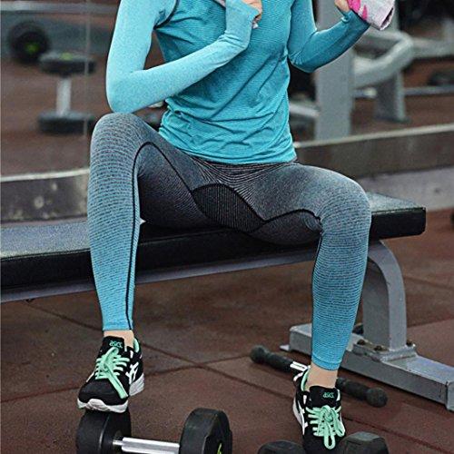 Pantalon de Yoga femmes,Jimma Elle exécute des pantalons de Yoga Sports fitness Stretch pantalon exercice Leggings Bleu