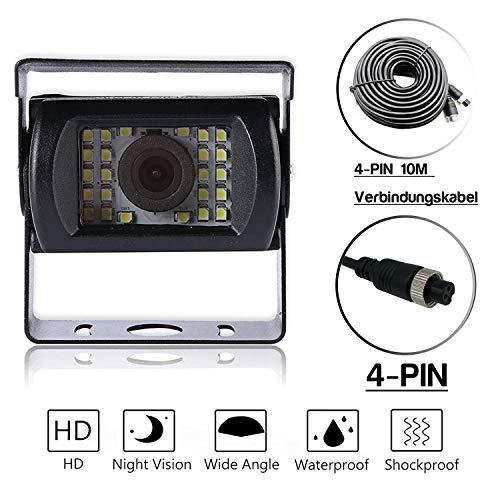 Universelle Nachtsicht-Rückfahrkamera mit Verlängerungskabel | Mehrere Schnittstellen | Mit Referenzlinie (4 Pin | 24 Lampenkugeln | 10 Meter Kabel)