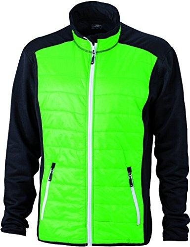 JAMES & NICHOLSON Körperbetonte Jacke in stylischem Materialmix Black/Green/White