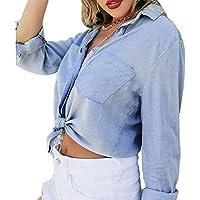 Blusa Casual con Cuello Redondo Y Manga Larga De Mezclilla con Volantes para Mujer