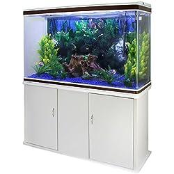 MonsterShop - Aquarium Blanc de 300 litres, Kits et Accessoires de Démarrage, Graviers Bleu, Meuble Blanc, d'Une Dimension Totale de 143,5 cm x 120,5 cm x 39 cm