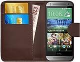 G-Shield HTC One Mini 2 Hülle mit Kartenfach Ledertasche Klapphülle PU Leder Schutzhülle Tasche Flip Case Cover Etui Handyhülle mit Displayschutzfolie und Stylus - Braun