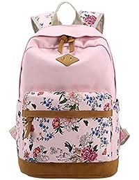 4a31a59a70f05 Panegy Damen Mädchen Mode Design Rucksack Bulemendruck-Art Canvas Reisen  Rucksack…