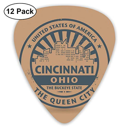 Guitar Picks 12-Pack,The Queen City Advertising Authentic Vintage Icon Of State
