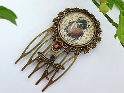 Peigne à cheveux de couleur bronze avec scarabée, Egypte