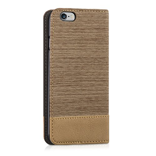 kwmobile Hülle für Apple iPhone 6 / 6S - Bookstyle Case Handy Schutzhülle Textil mit Kunstleder - Klapphülle Cover Anthrazit Braun .Sand Braun