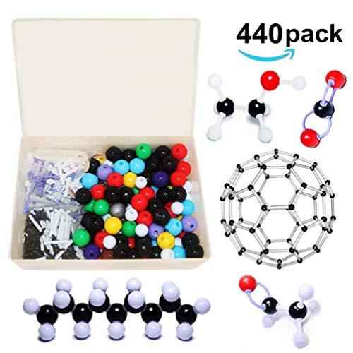Gesteam Molekülmodellbausatz (440 Teile) Anorganische Biochemie Molekülmodellbausatz Lehrer-Studenten-Set Chemie-Hilfsmittel-Entferner-Tool zum Lernen