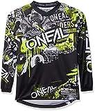 O'Neal Element Attack Motocross Kinder Jersey Trikot MX Enduro Offroad Motorrad Quad Cross Youth, 0006, Farbe Schwarz Hi-Viz Gelb, Größe L