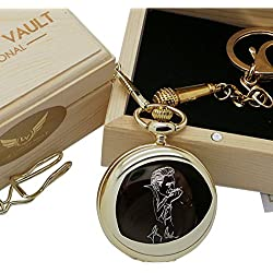 Signed Johnny Cash Pocket Watch Full Hunter AND Microphone Keyring 24 Carat Gold plated in Luxury Wooden Box Presentation Case
