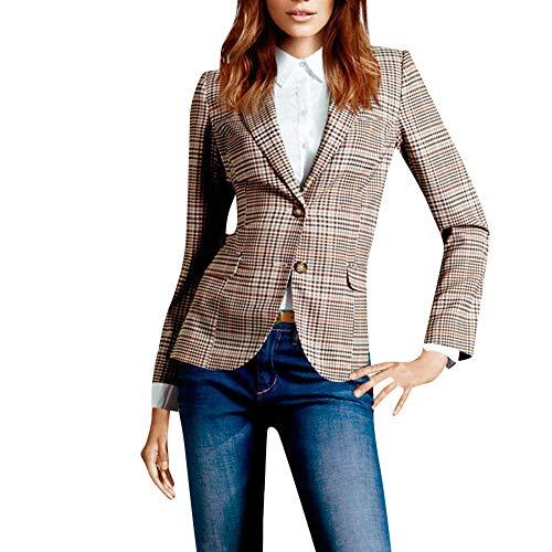 Longra Damen Slim Fit Karierter Blazer Elegant Business Jacke Kurz Anzug knopf Blazer-Jacken-Klagen Cardigan Tasche Kleiner Anzug Jacke Business beiläufige Arbeits Anzug -