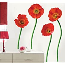UberLyfe Red Flowers Wall Sticker Size 3 (Wall Covering Area: 87cm x 102cm) - WS-000155