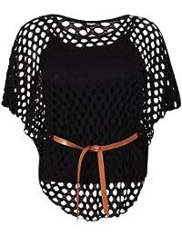 Damen Flügelärmel Damen U-ausschnitt Krawattengürtel Häkel Netz Pulli Einsatz Ärmelloses Top Übergröße