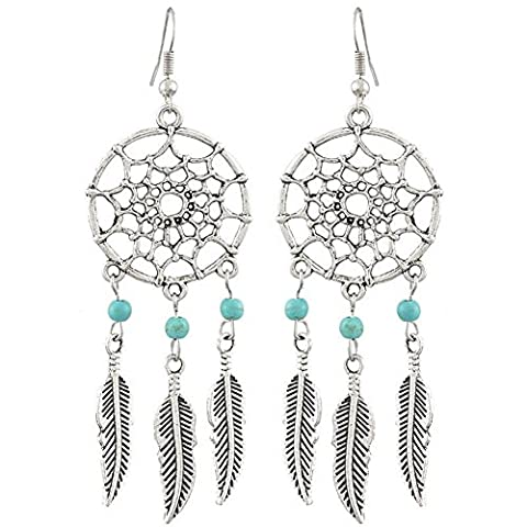 Women Retro Turquoise Dreamcatcher Dangle Earrings Feathers Bead Antique Silver