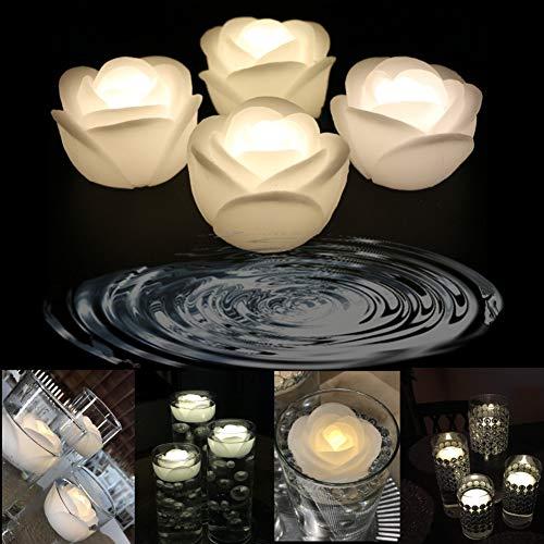 Wachs Flicker 7,6cm LED Wasser schwimmende Kerze für Hochzeit, Festival oder Party Dekoration Rose,warm White