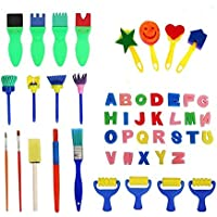 Esponja de Pintura Cepillos,47 Piezas Niños Cepillos de Pintura Set Reutilizables Lavables Cepillo de Pintura para Niños Jardín de Infantes Arte Artesanía Manualidades DIY