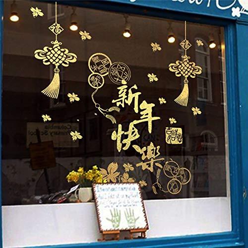 (Chinesischen Knoten Frühlingsfest Wandaufkleber Steuern Dekor Schaufenster Dekoration Neue Jahr Wandtattoos Diy Wandbild Kunst Pvc Poster 73 * 67 Cm)