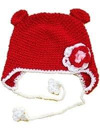 Handgemachte Strickmütze, Babymütze, Kindermütze, Hüte, 100% Wolle, Rote Ohren Mütze