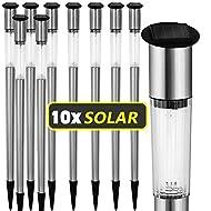 Lot de 10lampes bornes solaires à LED en acier inoxydable pour le jardin 70cm Alimentation solaire et batterie incluses