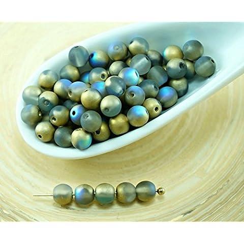 100pcs Matte Cristallo Arcobaleno Tondo in Oro ceca Perle di Vetro di Piccolo Distanziale 4mm