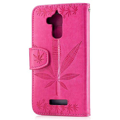 Für Asus Zenfone 3 Max ZC520TL Case Cover, Premium Soft TPU / PU Leder geprägt Ahorn Muster Brieftasche Case mit Halter & Cash Card Slots & Lanyard ( Color : Rose Gold ) Rose