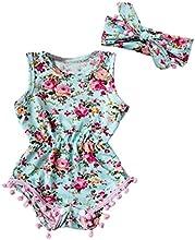 SMARTLADY Flores Estilo Romper para Niña Bebé Vestido con una Banda de Cabeza