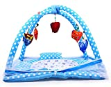 Chinmay Kids® Baby Kick and Play Gym with Mosquito Net and Baby Bedding Set (Sky Blue - Polka Dots) (0-6 Months)