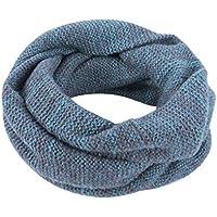 Xuxuou 1 Pieza Bufanda de Casual Unisex Bufanda Snood de Punto Size 144 cm de Circunferencia y 26 cm de Alto (Azul)