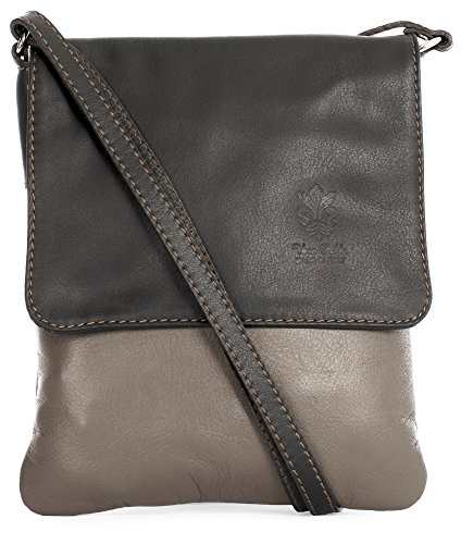 Big Handbag Shop Sac à main en cuir véritable souple pour Mini sac bandoulière - Marron - Medium Taupe - Coffee Trim,