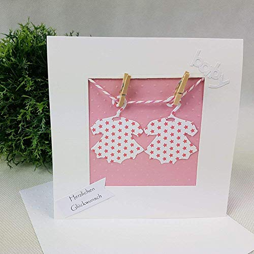 Glückwunschkarte ZWILLINGE Geburt Taufe BABY rosa