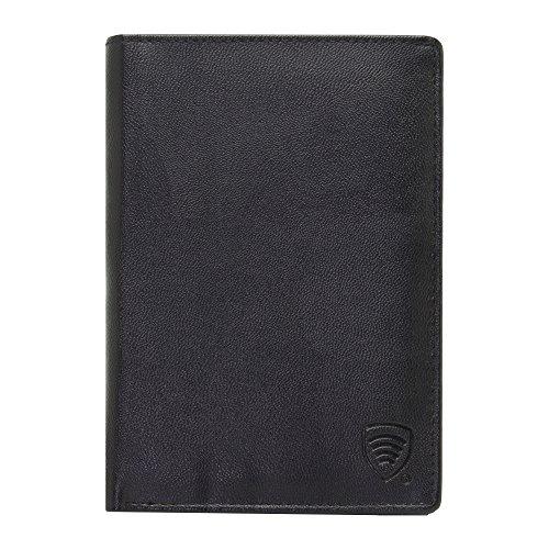 RFID Blocker Schutzhülle Reisetasche für kontaktlose Kreditkarten und biometrische Reisepass, Brieftasche (Schwarz1)