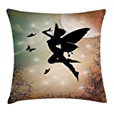 Pads bag Apartment Decor Throw Pillow Cushion Cover, Black Fairy with Angel Wings Butterflies and Sun Like Alluring Round Light, Decorative Square Accent Pillow Case, 18 X 18 Inches, Multicolor