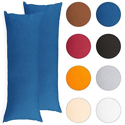 2er-Set Seitenschläferkissen-Bezug 40 x 145 cm Mikrofaser Kissenbezug Doppelpack CelinaTex BeBasic royal-blau 0001778