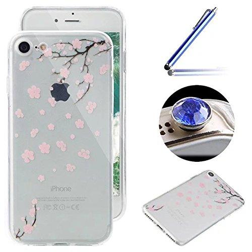 Etsue Silikon Schutz HandyHülle für iPhone 6 Plus/6S Plus (5.5 Zoll) Blumen TPU Hülle, Niedlich schön Muster Silikon Handytasche Ultradünnen Weiche Durchsichtig Handyhülle Soft Case Crystal Clear Case Pink Blumen