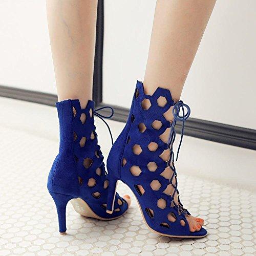 Mee Shoes Damen modern populär mit Schnürsenkel Kitten-Heel open toe Nubukleder special Heel mit Löcher amtungsaktiv Sommerstiefel Blau