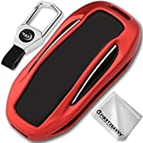 Red Alumium Hard Keyless Remote Key Fob Flip Key Protection Case Cover for Tesla Model X