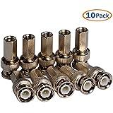 Conwork BNC Male Compression Coax Connectors RG6 / RG60 Twist-On Pack Of 10 Pcs