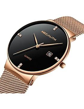 Herren Edelstahl Mesh Armband Uhren Wasserdicht Datum Kalender Einfach Design Analog Quarz Armbanduhr Gents Geschäft...