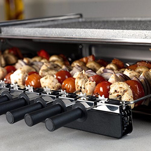 Tower T14020 3-in-1 Reversible Kebab Grill, Easy Clean, Non-Stick Cerastone Coating, 1200 W, Black