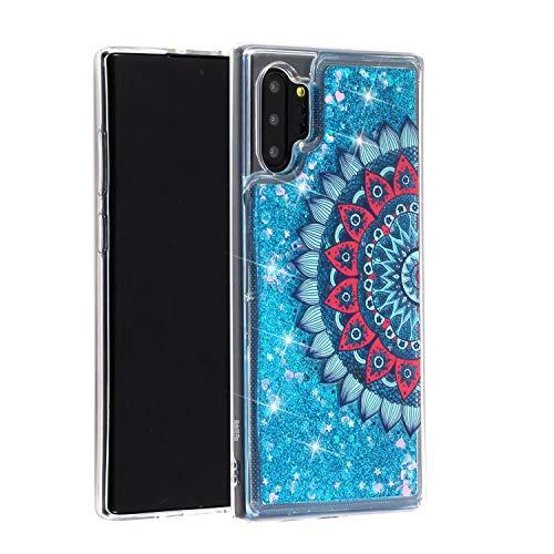 Miagon Flüssig Hülle für Samsung Galaxy Note 10 Plus,Glitzer Weich Treibsand Handyhülle Glitter Quicksand Silikon TPU Bumper Schutzhülle Case Cover-Blau Mandala Blume