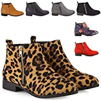 Ladies Chelsea Block Heel Riding Biker Gold Zip Womens Flat Ankle Boots Shoes Size 3-8