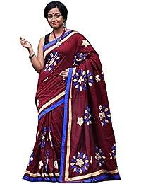 Tant Ghar Women's Cotton Hand Loom Applique Sarees With Applique Blouse (Marun) HA-5