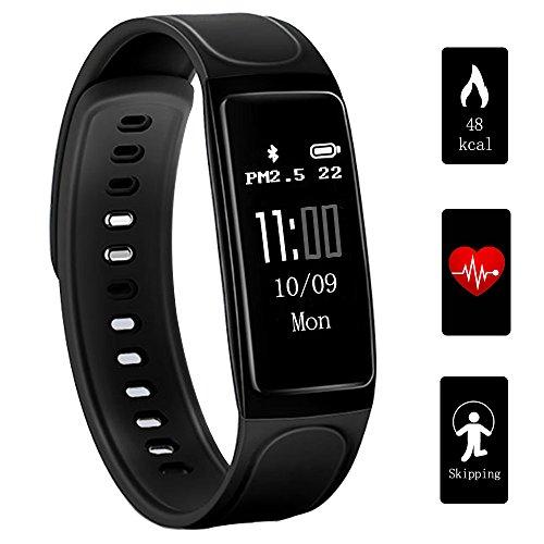 Fitness Tracker, Teetox 0.96Inch OLED Fitness Armbänder mit Pulsmesser Smart Wristband Aktivität Tracker Smart Armband mit Step Kalorienzähler / Schlaf Monitor für iPhone Android,Schwarz