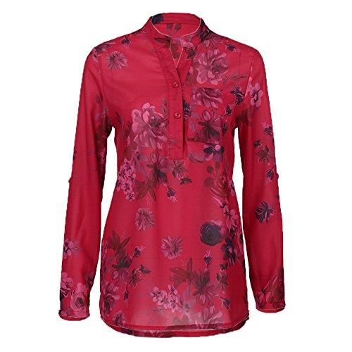 iHENGH Damen Sommer Top Bluse Bequem Lässig Mode T-Shirt Blusen Frauen Plus Size Chiffon Blumendruck Langarm Bluse Pullover Tops Shirt(Rot, 2XL)
