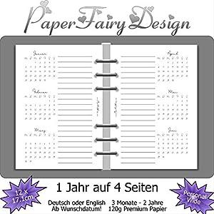 Kalendereinlagen 2020 - Personal Wide (12cm x 17,1cm) - 1 Jahr auf 4 Seiten - 120g Premium Papier