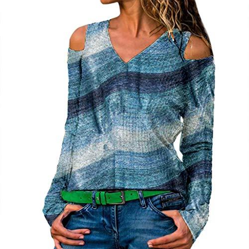 IZHH Damen Plus Size Shirt , Langarm-Print V-Ausschnitt TräGerloser Pullover Tops Shirt Schulterfrei Top(Blau,XXXXX-Large)