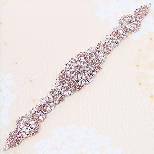 Muti Farben Rhinestone Applique für Bridal Sash mit Bling Atemberaubende Kristalle Easy DIY durch Nähen oder Hot Fix (Pink Crystal) Pink Crystal Bling
